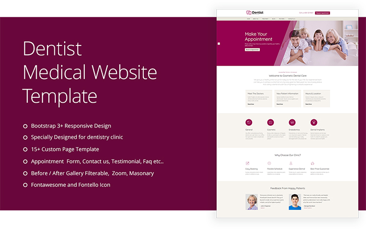 Dentist Clinic Medical Website Template