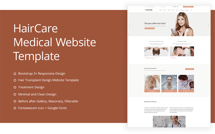 Hair Care Clinic Medical Website Templates