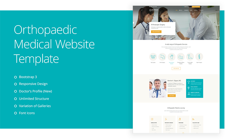 Orthopedic Surgeon Medical Website Templates