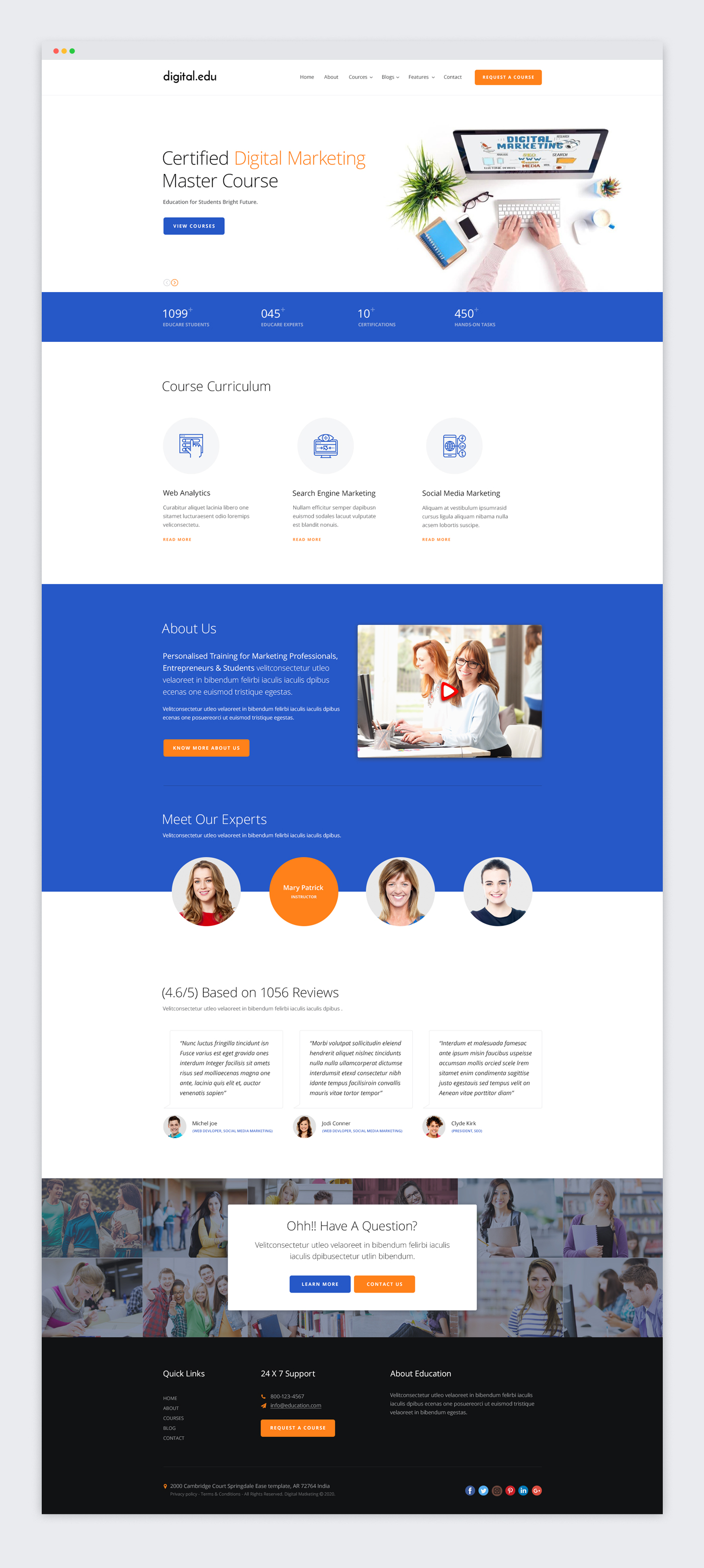 Digital Marketing Courses Website Template