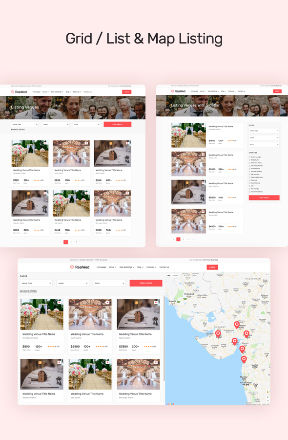 wedding supplier directory grid and list view design