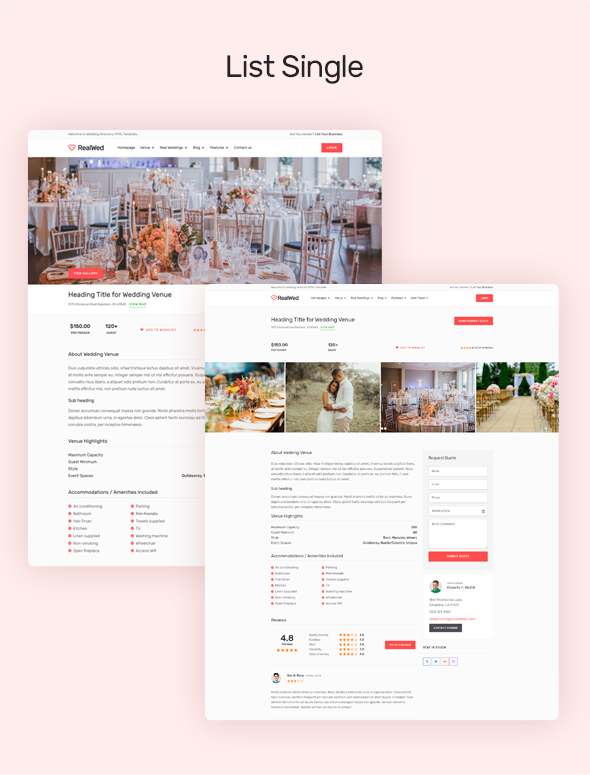 wedding suppliers online information design template