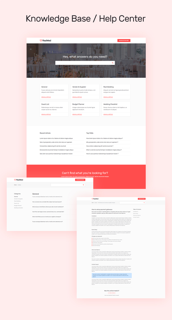 knowledge base help center design template