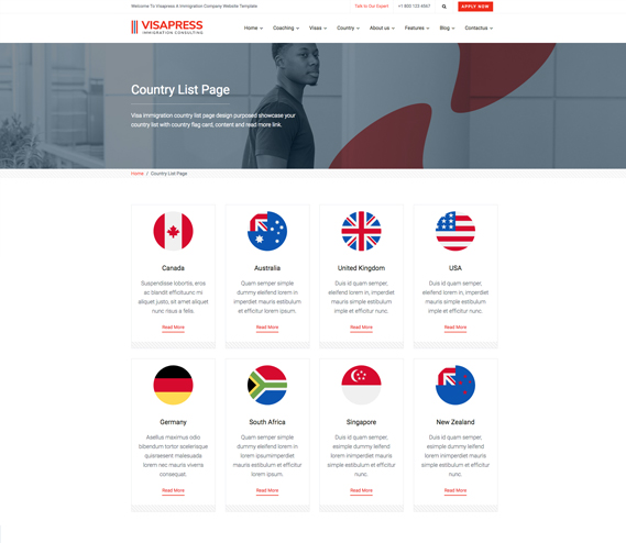 visapress landing page preview