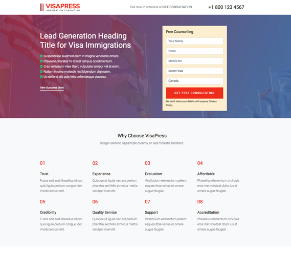 VisaPress - Landing Page Preview