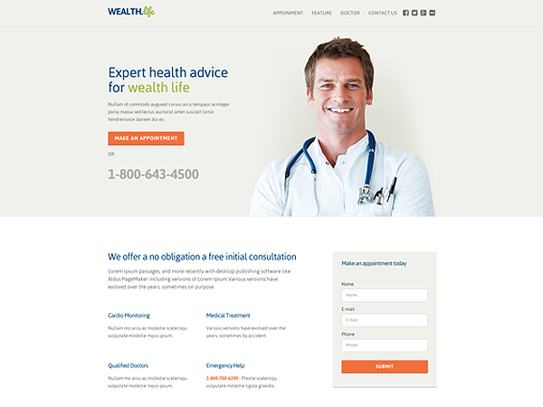 Wealth Multipurpose Responsive Landing Page Templates - Medical landing page template
